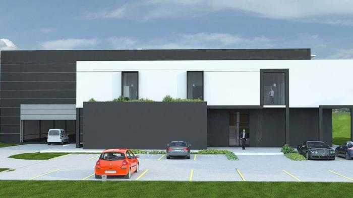 wizualizacja nowej hali z częścią biurowo socjalną